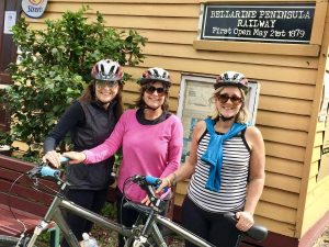 starting a cycle tour at the queenscliff rail trail