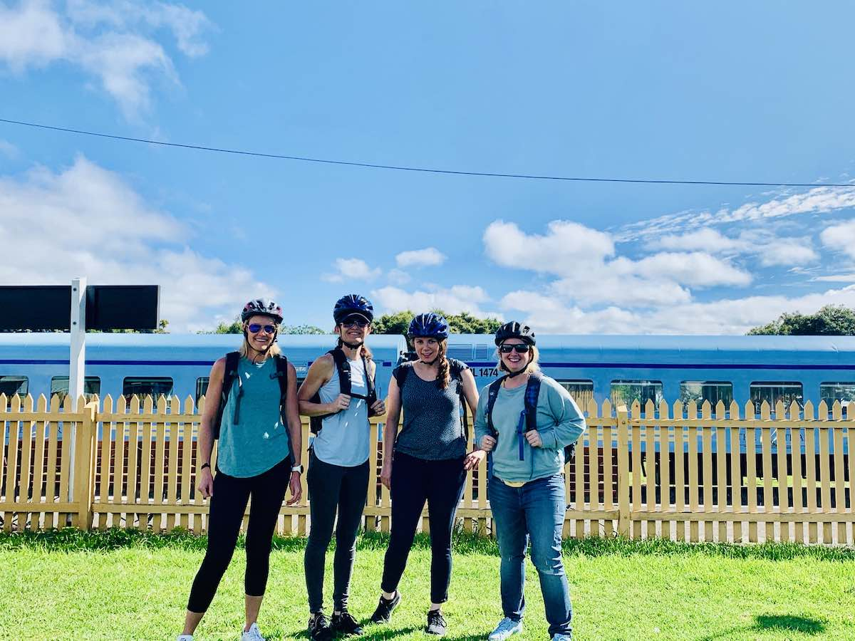 at the end of a bellarine rail trail cycle tour