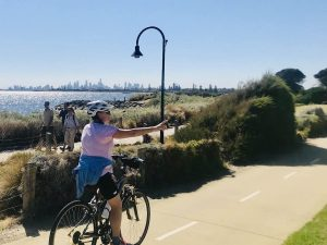 view of melbourne skyline from a cycle tour