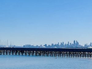 the view of melbourne skyline from brighton victoria
